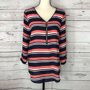 Tacera Top Striped Roll-Tab Sleeves Zipper Accent